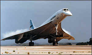 1976-1-21 Two Concorde supersonic airliner, the first commercial flight