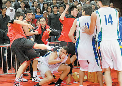 2010-10-12 China and Brazil Men's Basketball Tournament brawl