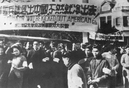 1946-12-24 Peking University student Shen Chong was raped by U.S. soldiers set off anti-US raging tide of