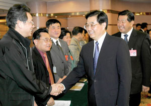2005-3-4 In Beijing, Hu Jintao put forward four points in the development of cross-strait relations under the new situation