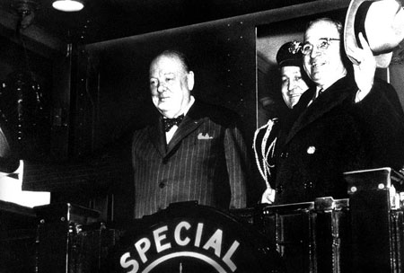 "1946-3-5 Churchill published his famous ""Iron Curtain speech"" marks the beginning of the Cold War"