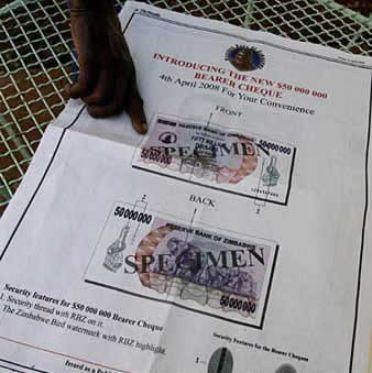 2008-4-4 Zimbabwe issued the largest denomination in the world 50 million-chun yuan banknotes