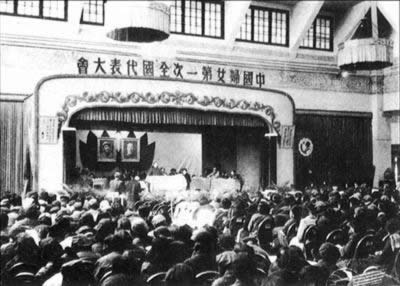 1949-4-3 Chinese women, the first closing of the National People's Congress in Peking