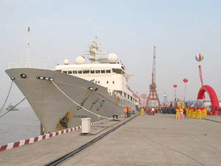 1995-4-27 China's new generation of space the ocean tracking ship built water